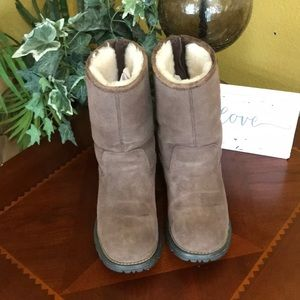 UGG Chocolate Brown Langley Zip Up Boots